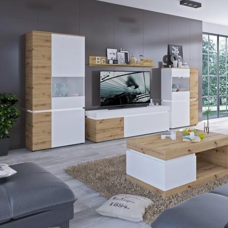 Luci Six Door Cabinet with LED Lighting - Oak & White Room Shot 1