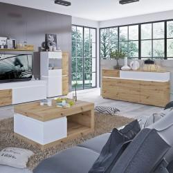 Luci Six Door Cabinet with LED Lighting - Oak & White Room Shot 2