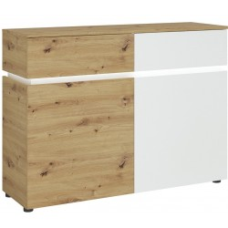 Luci Two Door & Two Drawer Cabinet with LED Lighting - Oak & White
