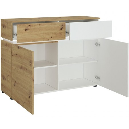 Luci Two Door & Two Drawer Cabinet with LED Lighting - Oak & White Open