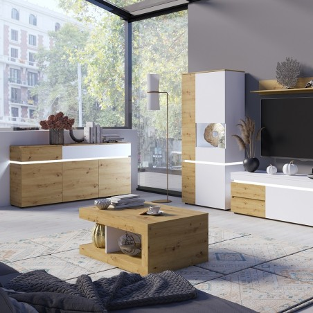 Luci Two Door & Two Drawer Cabinet with LED Lighting - Oak & White Mood Shot
