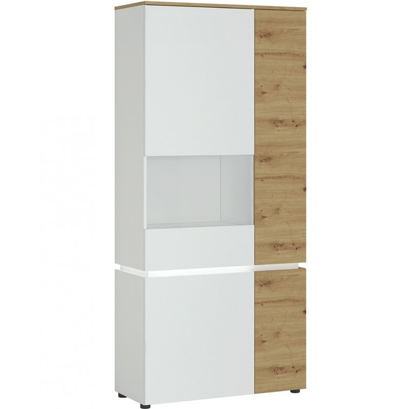 Luci Four Door Tall Display Cabinet with LED Lighting  (LHD) Oak& White