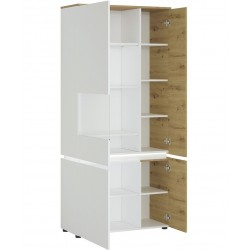 Luci Four Door Tall Display Cabinet with LED Lighting  (LHD) Oak& White Open