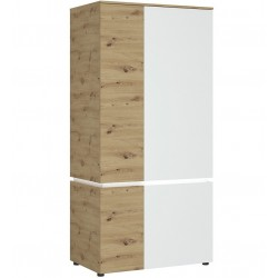 Luci Four Door Wardrobe with LED Lighting Oak & White
