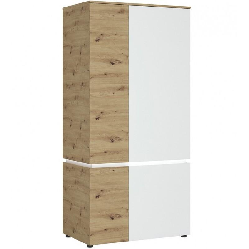 Luci Four Door Wardrobe with LED Lighting Oak & White
