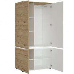 Luci Four Door Wardrobe with LED Lighting Oak & White Open