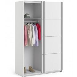Verona Sliding Wardrobe 120cm - White One side open Mood shot