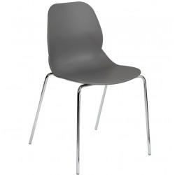 Sligo dining chair with a grey seat and Chrome legs