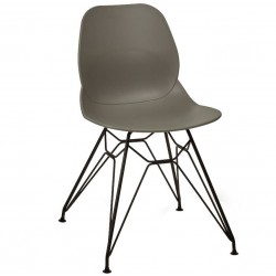 Sligo dining chair with a Grey seat and a black frame