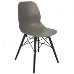 Sligo designer dining chair with a Grey seat and Black legs