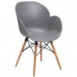 Sligo designer armchair with a grey seat and beech legs