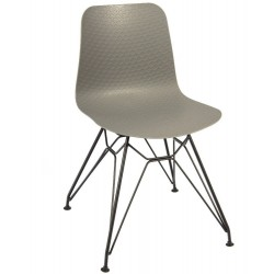 Galway designer chair with a Grey shell and Black eiffel legs