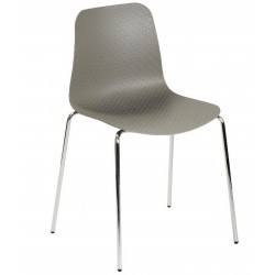 Galway Dining Chair with a Grey seat and four chrome legs