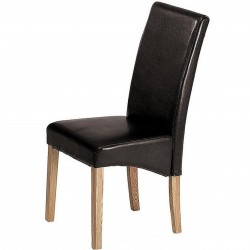Athens faux leather dining chair in Brown