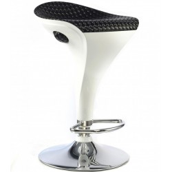 Helford Bar Stool White Base & Black PU Seat