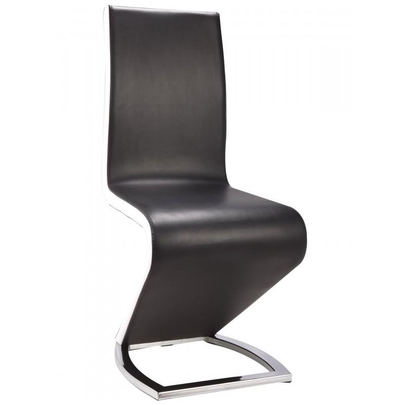 Paris PU Chrome Chairs Black & White Dining Chair
