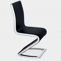 Paris PU Chrome Chairs Black & White Dining Chair Side View