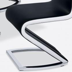 Paris PU Chrome Chairs Black & White Dining Chair Z Frame Detail