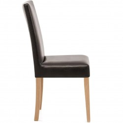 Ashford Faux Leather Dining Chairs - Brown Side View