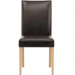 Ashford Faux Leather Dining Chairs - Brown Front View