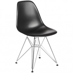 Bianca Dining Chair - Chrome Eiffel Style Legs - Black