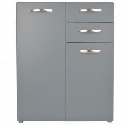 Retro soft grey small sideboard front view.