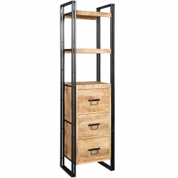 Kinver Industrial Slim Bookcase With Drawers