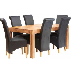 Bidar Light Mango 6FT Dining Set With Leather Chairs