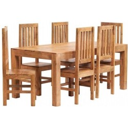 Bidar Light Mango 6FT Dining Set With Wooden Chairs