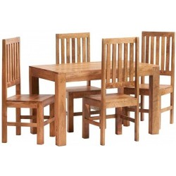 Bidar Light Mango 4FT Dining Set With Wooden Chairs
