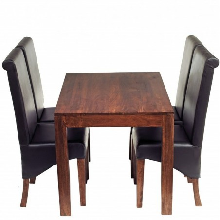 Indore Dark Mango 4FT Dining Set With Leather Chairs