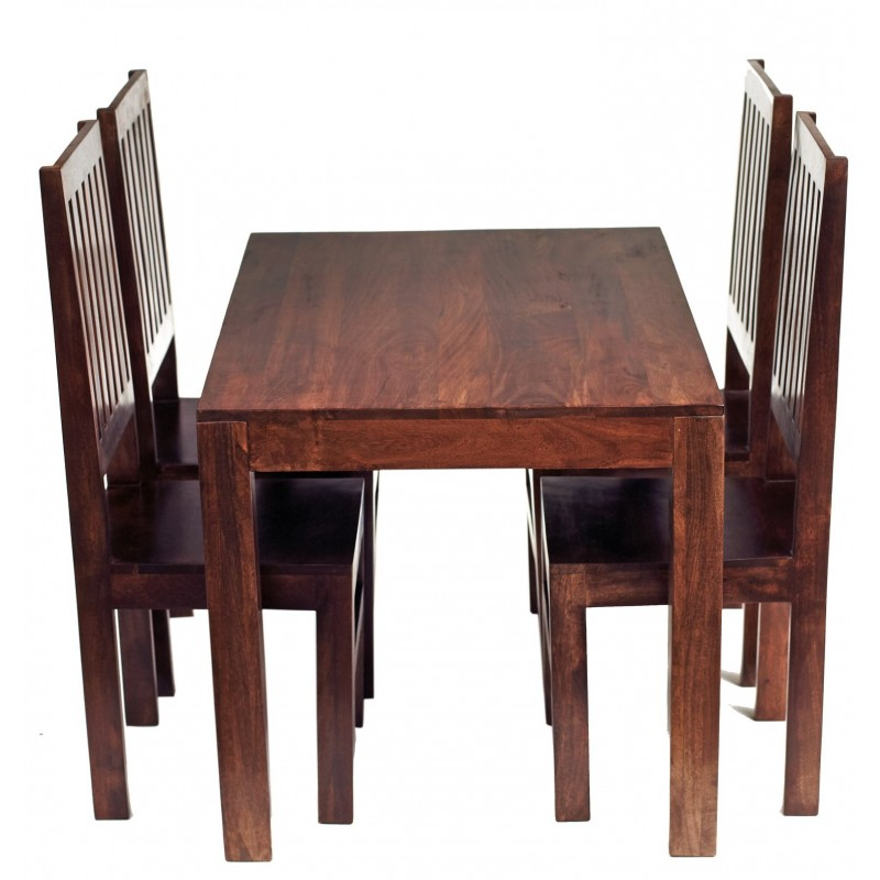 Indore Dark Mango 4FT Dining Set With Wooden Chairs