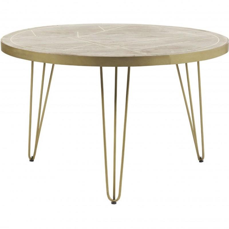 Tanda Light Gold Round Dining Table