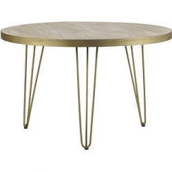 Tanda Light Gold Round Dining Table Angled View