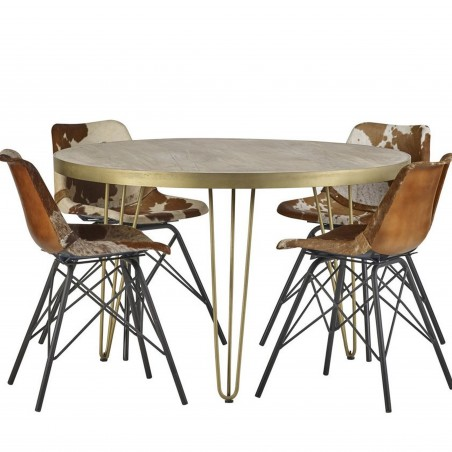 Tanda Light Gold Round Dining Table mood Shot 1