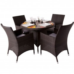 Four Seater Outdoor Dining Set - Wood Effect Top