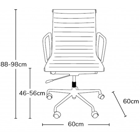 Della Ribbed Office Chair Short Back - Dimensions