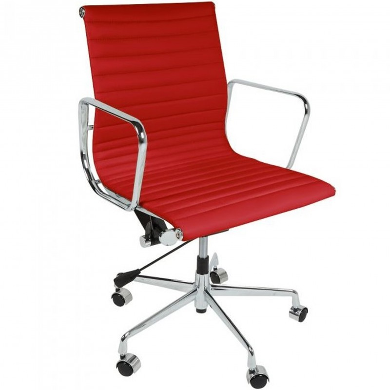 Della Ribbed Office Chair Short Back - Red