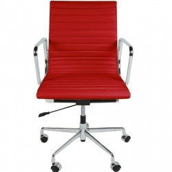Della Ribbed Office Chair Short Back - Red Front View