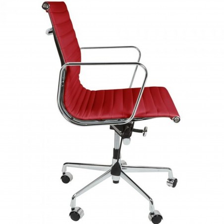 Della Ribbed Office Chair Short Back - Red Side View
