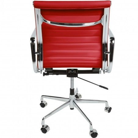 Della Ribbed Office Chair Short Back - Red Rear View