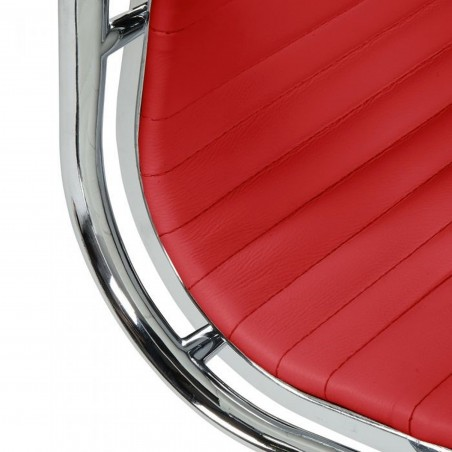 Della Ribbed Office Chair Short Back - Red Seat Detail