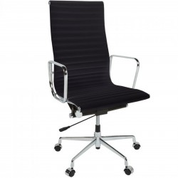 Della Ribbed Office Chair High Back - Black