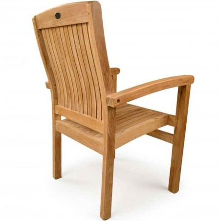 Penstone Teak Stacking Chair Rear View