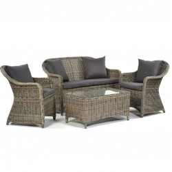 Sunfair 4 Seater Rattan Sofa Set with Glass Coffee Table