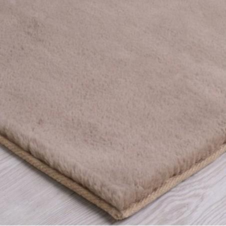 Comfy Plain Rug - Mink Edge Detail