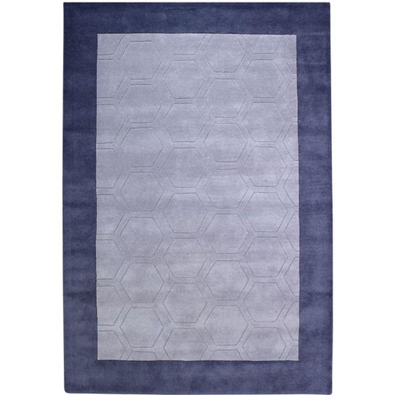 Hex Geometric Border Rug - Grey