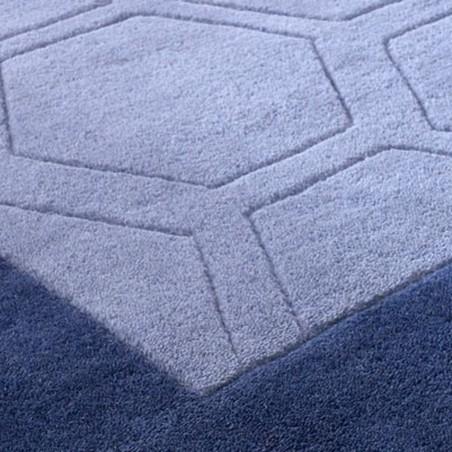 Hex Geometric Border Rug - Grey Pattern Detail